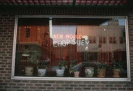 New World Chop Suey front window in Edmonton Chinatown