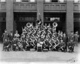 [Group portrait of Vancouver Fire Department Band with Mayor L.D. Taylor and dignitaries]