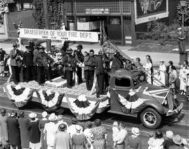 Vancouver Fire Department float in parade, draegermen