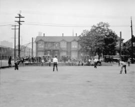 Y.M.C.A. - playing softball, Cambie Street grounds
