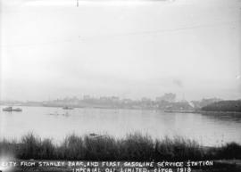 City from Stanley Park, and first gasoline service station. Imperial Oil Limited.