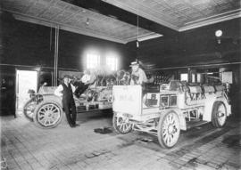 1912 American-LaFrance Hose Chemical wagon and Seagrave AC-80 Hose wagon inside No. 4 Firehall, 1...