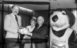 Mike Harcourt and Tillicum with Mayor of Cobourg, A.V. Read and [Mrs. Read]