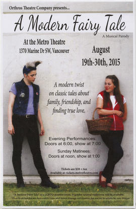 Orthros Theatre Company presents A Modern Fairy Tale : a musical parody : August 19th-30th, 2015