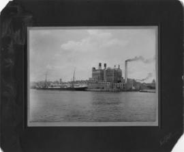 Atlantic Refineries, sugar factory and ship at dock