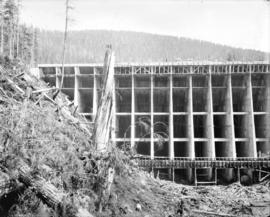 [Partially contructed Jordan River Power Plant, showing north end of Amburson type concrete dam]