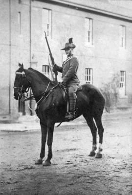 Charles Edward Jackson [on horse and in Boer War uniform]