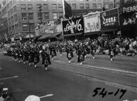 Pipe band marching in 1954 P.N.E. Opening Day Parade