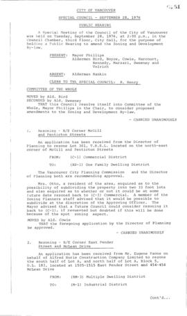 Special Council Meeting Minutes : Sept. 28, 1976