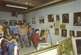 Crowd watching portrait painting demonstration, 1971 P.N.E. World of Art show