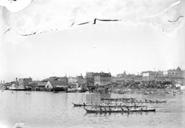 [Native Indian canoe races in Inner Harbour, Victoria]