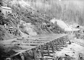 [Partially constructed wooden platform for Buntzen Lake Power Plant number one]