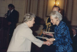 Jeanne Sauvé presents award to recipient