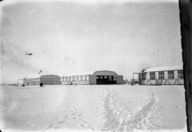 79th hangars [at] Camp Everman [in the] snow