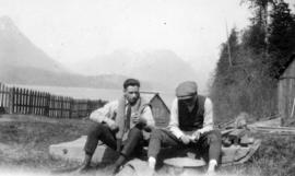 Johnie and George peeling spuds [at Alouette Lake]