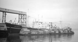 M.S. Kalamata [at dock, with barges alongside]