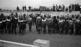 [Scouts at attention during scout rally at Hastings Park]