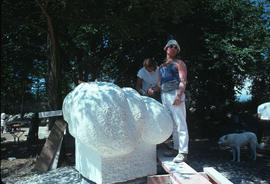 Michael Prentice working on sculpture