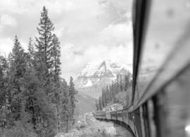 [View of] Mt. Robson [from train]