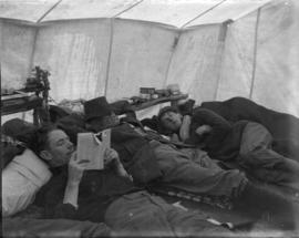 [Members of B.C. Mountaineering Club in a tent]