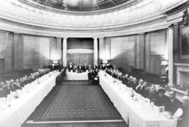 [Surviving electors of the first civic election at a banquet in the Oval Room in the Hotel Vancou...