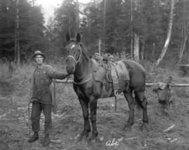 [Man with pack horse at Burwell Lake]
