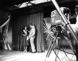 Carol Lucas, Miss P.N.E., being interviewed on CBC television