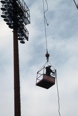 Erecting lights at Nat Bailey [16 of 29]