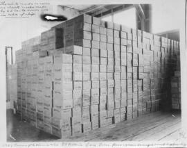 3327 cases of salmon stacked for shipment by P.E. Harris & Co. via S.S. Victoria from False Pass