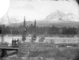 [View of Mt. Temple], looking across C.P.R. track and Bow River