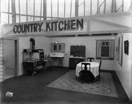 Display depicting a country kitchen
