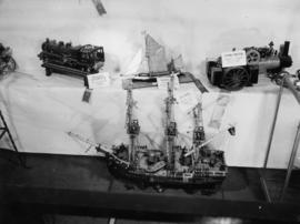 Display of prize-winning model ships and trains in P.N.E. Hobby Show