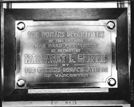 [Margaret L. Griffin memorial plaque from the Rotary Clinic Building]