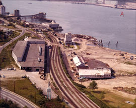 Aerial view of New Brighton Park site, looking west along waterfront toward foot of Renfrew Street