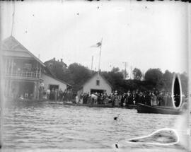 [Crowds gathered at docks near Vancouver Rowing Club, foot of Thurlow Street]