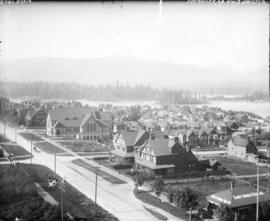 [View of downtown, part of Stanley Park, and the North Shore mountains, looking northwest from Ge...