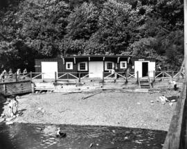 [Howe Sound Ferries Ltd. Dispatcher's Office and Coffee Shop building at unidentified beach]