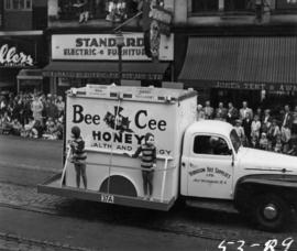 Hodgson Bee Supplies truck advertising in 1953 P.N.E. Opening Day Parade