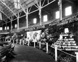 Brown Bros. floral display in Horseshow building