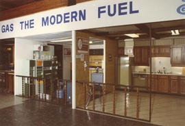 """Gas, the modern fuel"" display of natural gas uses in the home"