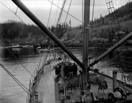 [Boat approaching] Pacific Mills [dock on the] Queen Charlotte Islands
