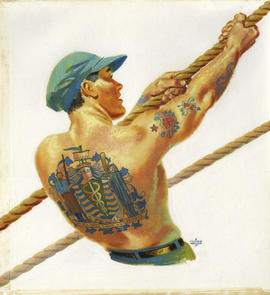 Tattooed man pulling on rope