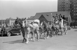 [A stage coach in parade on Georgia Street west of Burrard Street]