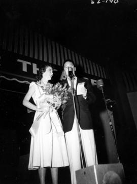 Joan Nagle on stage after being named Miss P.N.E.