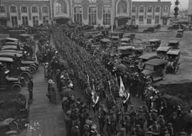 29th Battalion and Yukon Detachment [troops marching out from Union Depot]