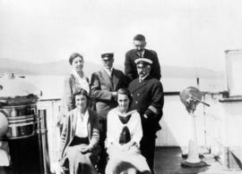 [Passengers and the Captain onboard the Camosun]