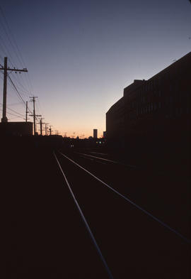 Railway scene at dusk