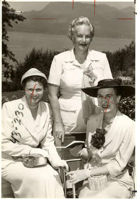 Mrs. S.S. McKeen, at home with Mrs. H.A. Stafford and Mrs. G.K. Davidson for Rotary Garden Party