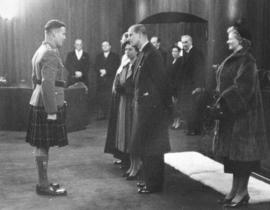 [Lieutenant Colonel C.C.I. Merritt greets H.R.H. Princess Elizabeth and H.R.H. Philip Duke of Edi...