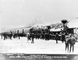 Canadian Pacific Railway arrival of the first through train at the seabord of British Columbia